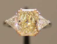 SOLD....Three Stone Diamond Ring: 3.51ct Natural Light Yellow in Platinum and 18Karat Yellow Gold  R3162