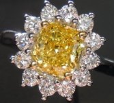 Halo Diamond Ring: 1.08ct Fancy Vivid Yellow SI1 Cushion-Amazing color R3177