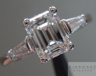SOLD....Colorless Diamond Ring: 1.21ct G/SI2 Emerald Cut GIA Baguette Side Stone Ring R3185