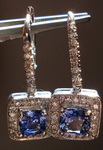 SOLD....Sapphire and Diamond Earrings: 1.97ct Square Cushion Light Blue Halo Dangle Sapphires R3192