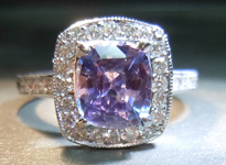 SOLD...Sapphire and Diamond Ring: 1.89ct Lavender Sapphire Cushion Diamond Halo Ring R3198