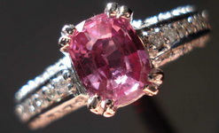 Sapphire and Diamond Ring: 1.23ct Pink Antique Cushion NIce cut and Sparkle R3196