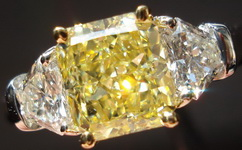 SOLD....Three Stone Diamond Ring: 1.04ct Fancy Light Yellow Radiant GIA Lemon Ice Unique Sheild Platinum R3107