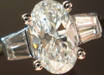 SOLD.....Three Stone Diamond Ring: 1.17ct Oval GIA H/SI2 in Baguette ring 18kt Yellow Gold R3044