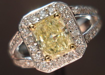SOLD....Halo Diamond RIng: .70 Fancy Light Yellow Radiant in Split Shank halo Ring R3161