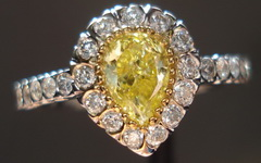 SOLD.....Halo Diamond RIng: .49ct Intense Yellow Pear in Bead set Halo TRADE UP SPECIAL R1750