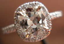 SOLD....Halo Diamond Ring: 1.01I/Si1 GIA Cushion in Platinum Microset R3039