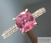 Sapphire Ring: .83ct Purple Square Cushion Cut Sapphire and Diamond Ring Cool Color R3228