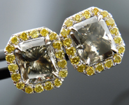 SOLD........!!Diamond Earrings: Matching Pair of GIA Gray Diamonds Fancy Intense Yellow Diamond Halo R3210