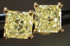 SOLD....Diamond Earrings: 1.53ct twYellow Radiant Diamond Studs 18kt R3218