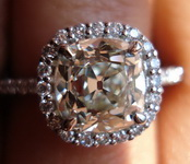 SOLD...Halo Diamond Ring: 2.01ct NEW OLD MINE Diamond GIA in Platinum - high-tech but old-fashioned, Snow in Summer R3229