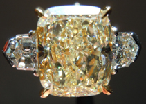 SOLD....Three Stone Diamond Ring: 4.37ct S-T Cushion GIA  Bullet Side Stones R2513