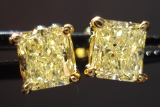 SOLD....Diamond Earrings: 1.28ct twYellow Radiant Diamond Studs 18kt R3214