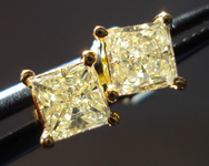 SOLD....Diamond Earrings: .79ct twYellow Princess Diamond Studs 18kt R3219
