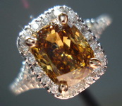 SOLD.....Halo Diamond Ring: 1.53ct Dark Yellowish Brown Cushion GIA VG/VG VS2 18kt Halo ring R3240