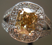 Diamond Halo Ring: 1.53ct Fancy-Brown-Yellow Cushion VS1 GIA Platinum Halo Ring R3241