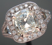 SOLD....Halo Diamond Ring: 1.53 K/VVS2 GIA Daussi Cushion in Split Shank Halo R3246