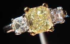 SOLD....Three Stone Diamond Ring: .70 Light Yellow Radiant W Asscher Side Diamonds Trade up special R272