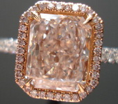 SOLD....Pink Halo Diamond Ring: 2.03ct Brown-Pink Radiant exquisite Color GIA Pink Diamond Halo R3262