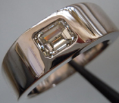 Gents Diamond Ring: .97ct J/I1 Emerald Cut Diamond GIA Nice I1 18kt WHITE gold R3270