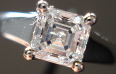 SOLD....Solitaire Diamond Ring: .90ct Asscher Cut High Color I1 Sam Spade Bargain Eye clean R3288