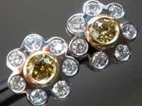 Diamond Earrings: .Round Fancy Brownish Greenish Yellow GIA Daisy Ear studs R3280