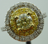 SOLD...Diamond Halo Ring: .46ct Natural Light Yellow Round Brilliant Diamond Double Halo R3294