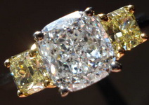 SOLD.....Three Stone Diamond Ring: .91ct F/I1 Cushion GIA Russian Cut Beauty- Natural Yellow Sides R3265