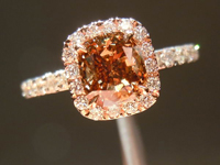 SOLD....Diamond Halo Ring: 1.02ct Fancy Dark Orangy Brown Cushion GIA PINK Halo R3307