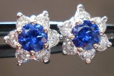 SOLD....Sapphire and Diamond Halo Earrings- bright blue and white 14kt white gold  R3297