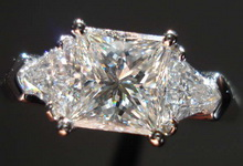 SOLD....Three Stone Diamond Ring: 1.23ct Princess Cut with Trilliants- Custom Made 18kt R956