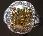 SOLD....Halo Diamond Ring: 2.06ct Fancy Deep Brownish Yellow Cushion Split Shank Halo Ring R3340