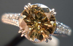 SOLD....Halo Diamond Ring: 1.71 Brown Round Diamond Microset masterpiece ring  R3347