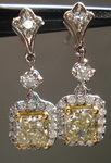 SOLD....Diamond Earrings: 1.67t twYellow Radiant Diamond Dangle Halo R3351