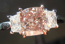SOLD....Pink Diamond Ring: 1.44 Fancy Light Pinkish Brown Cushion GIA Trapezoidal Side Stones R3344