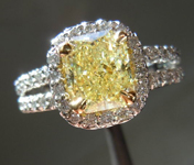 SOLD....Diamond Halo Ring: 1.38ct Fancy Light Yellow VS2 Radiant Diamond Platinum and 18K YG R3281