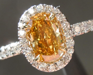 Diamond Halo ring: .88ct Fancy Intense Orange Yellow Oval Startling color GIA R3336