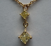 SOLD.....  Diamond Necklace: .52ctw Yellow and Colorless Diamond Drop Necklace R3353