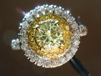 SOLD....Diamond Halo Ring: .51ct Y-Z VS2 Round Diamond GIA Beautiful Double Halo R3282