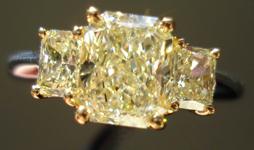 SOLD....Three Stone Diamond Ring: 1.42ct Y-Z SI2 Radiant Cut Diamond GIA-Beautiful Cut Stones R3366