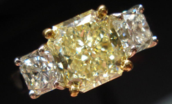 SOLD...Three Stone Diamond Ring: 2.03ct Fancy Light Yellow SI1 GIA Radiant Side Stones  R3389