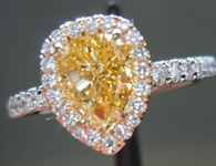 SOLD...Diamond Halo Ring: .72ct Fancy Brownish Yellow Pear Diamond 18K YG and Platinum Ring GIA R3392
