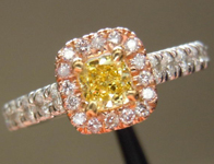 SOLD...Diamond Halo Ring: .25ct Intense Yellow VS1 Cushion Cut Pink Diamond Halo Ring R3408