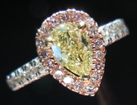 SOLD....Diamond Halo Ring: .38ct Fancy Yellow Pear Shape Diamond Pink White and Yellow Gold Halo Ring R3405