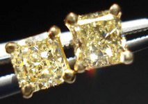 SOLD....Diamond Earrings: .69ct Yellow Radiant Diamond Studs 18kt Yellow Gold R3397