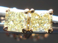 SOLD....Diamond Earrings: .46ct Natural Yellow Radiant Diamond Studs 18kt Gold R3398