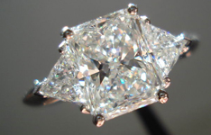 SOLD....Three Stone Diamond Ring: 2.06 H SI1 Radiant Cut Diamond GIA Great Sparkle R3415