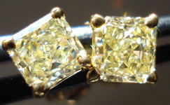 SOLD....Diamond Earrings: .66ct Lemon Yellow Natural Diamond Studs STRONG COLOR R3400