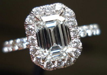 SOLD....Halo Diamond Ring: 1.08 H/VS1 GIA Emerald Cut in 18kt Hand Made 18kt Halo R3431