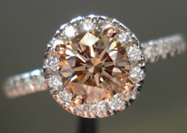 SOLD....Diamond Halo Ring: .67 Round Diamond Fancy Brown SI2 Platinum and 18K Gold R3439